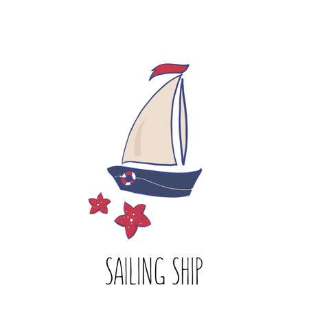 Sail boat vector illustration. Beautiful sea colors palette. Yachting. Cruise logotype. Cartoon illustartion for stickers, prints, postcards