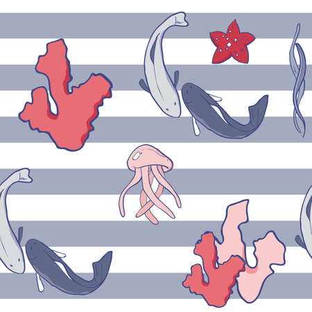 Vector illustration of the sea animals and others. Beautiful sea colors palette