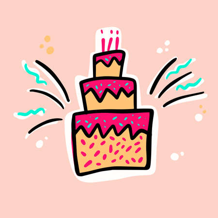 Birthday cakes hand drawn vector illustration. Anniversary desserts with burning candles Muffin, cupcake with confetti vector illustration Illusztráció