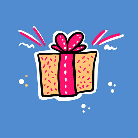 Present box vector illustration. Pink bow on the yelow box. Birthday or anniversary gift.