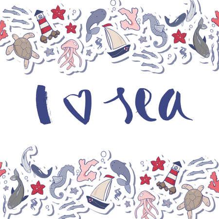 I love sea vector hand drawn lettering. Travel illustration for banner, background, textile. Illusztráció