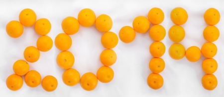 0 1 year: 2014 New Year. Figures are made of tangerines Stock Photo