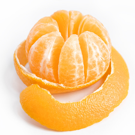 Peeled tasty sweet tangerine or mandarin fruit photo