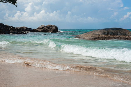 stormy waters: Blue sea with waves and sky with clouds