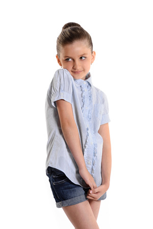 modest: Portrait of a modest attractive girl on white background Stock Photo