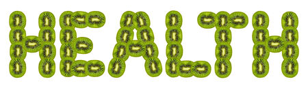health -  text of slices of kiwi on white background. photo