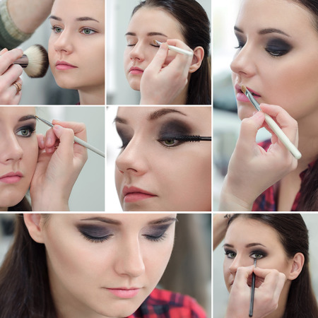 Collage of several photos for beauty industry. Professional Make-up. photo
