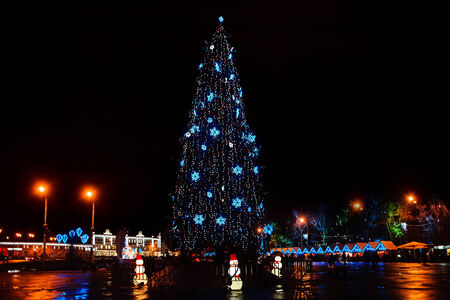 huge christmas tree: Huge Christmas tree on a town square at night. New Year holidays.