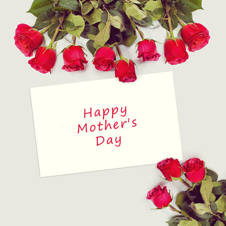 Roses bouquet and greeting card with sample text. Happy Mothers Day. photo
