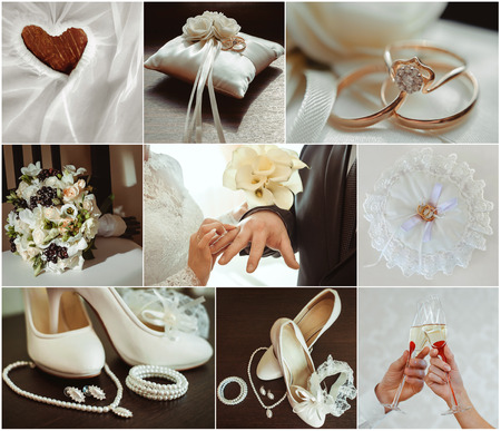 Collage from wedding photos details of the wedding 版權商用圖片