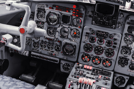 avionics: the instrument panel in the cockpit of a private jet