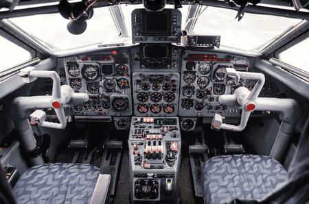 the instrument panel in the cockpit of a private jet