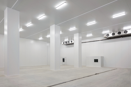 empty warehouse: Interior of a big modern clean and empty warehouse