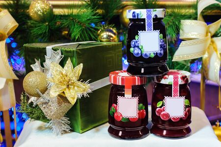 jars of delicious berry jam, sweet gift for Christmas and New year