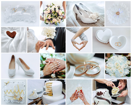 wedding bands: wedding photo set, the details and moments of wedding Stock Photo