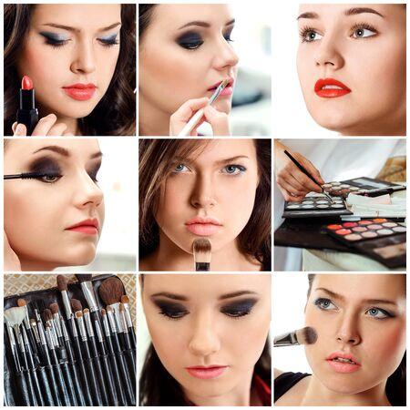 collage caras: Collage de belleza. Las caras de las mujeres. Foto de moda. El artista de maquillaje aplica el lápiz labial y sombra de ojos. Foto de archivo