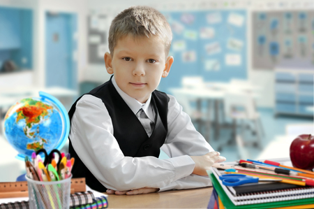 schoolroom: Young schoolboy sitting at a desk in the classroom. Primary education Stock Photo
