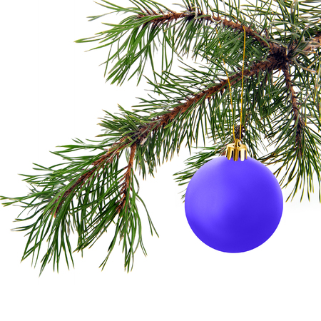 christmas decorations with white background: Festive decorations. Blue Christmas ball on white background Stock Photo