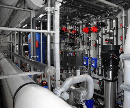 Instrumentation: New modern equipment at the plant. Industrial zone. Instrumentation