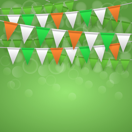 Colorful festive flags on green bokeh background. Irish holiday, celebration party. St. Patrick's day greeting card. Vector illustration