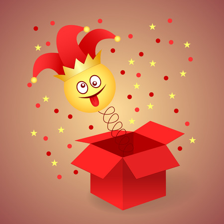 Happy April Fools Day. Jack in the box toy, springing out of a box. Vector illustration
