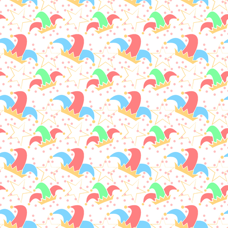 Seamless pattern with jester hat. April Fools day background. Vector illustration