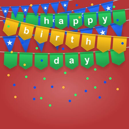 Happy birthday. Festive background with colorful flags. Holiday, celebration party. Vector illustration