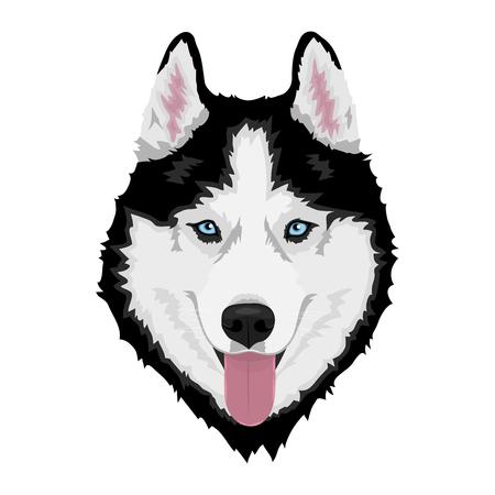 Husky siberiano blanco y negro con ojos azules y sacando la lengua. Retrato de perro dibujado a mano. Ilustración vectorial