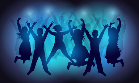 crowd happy people: Silhouettes of happy people dancing and jumping at a disco or party. The dancing teenagers. Party background. Vector illustration