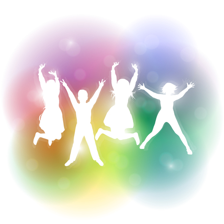 Silhouettes of young people jumping at the festival. Party people. Vector illustration