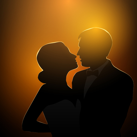 date night: Silhouette of loving couple over orange sunset background. Lovers on a date. Vector illustration Illustration