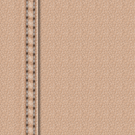 Realistic leather texture with a seam. Leather background with stitching. Vector illustration