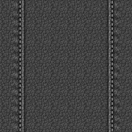 Realistic leather texture with two seams. Dark leather background with stitches. Vector illustration Ilustrace