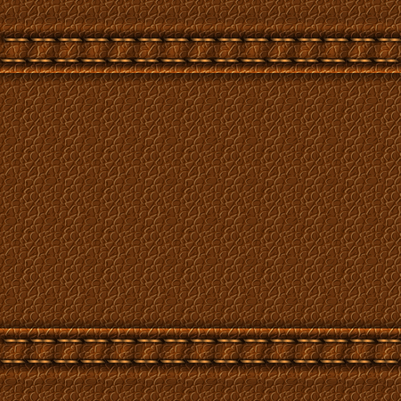 Realistic leather texture with two seams. Brown leather background with stitching. Vector illustration Ilustrace