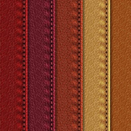 Set di texture realistiche in pelle con cuciture. Sfondi in pelle di diverse sfumature marroni. Illustrazione vettoriale