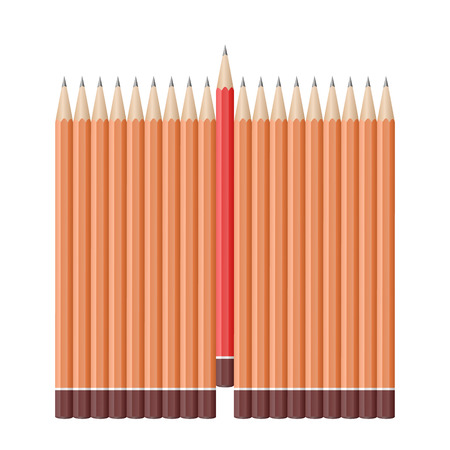 Single red pencil stands out amongst many lead pencils. School supplies concept. Bussiness strategy. Leadership. Vector illustration