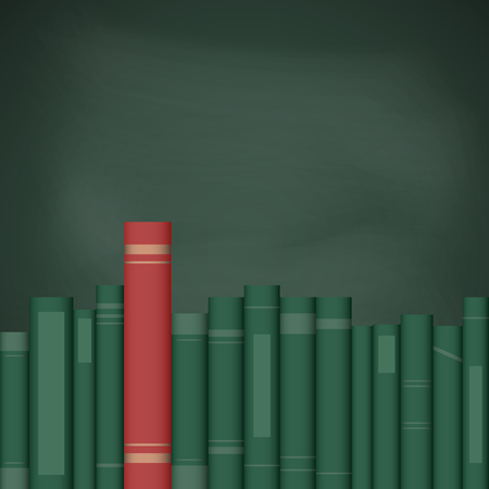 Big red book stands out amongst green books on the background of a school board. Education and school concept. Vector illustration