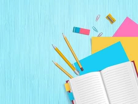 School supplies, open notebook, pencils, paper, eraser on wooden background with place for text. Back to school. Education and school concept. Vector illustration Illustration