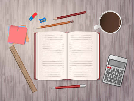 Open notebook, school supplies and cup of coffee on wooden desk. Back to school. Education and school concept. Vector illustration