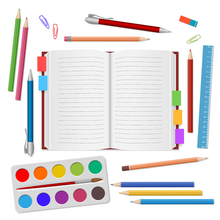 School supplies, open notebook, colour pencils, pens, watercolors paints, ruler, eraser on white background. Back to school. Education and school concept. Vector illustration Illustration