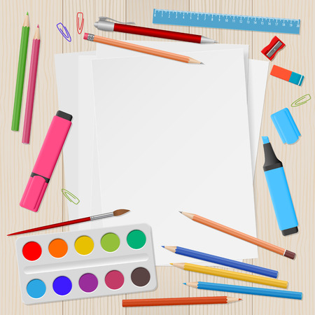 School supplies, colour pencils, white paper, watercolors paints, ruler, eraser on wooden background with place for text. Back to school. Education and school concept. Vector illustration