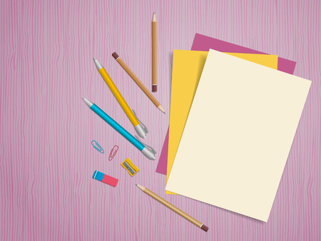 School supplies, colour pencils, pen, paper, eraser on wooden background with place for text. Back to school. Education and school concept. Vector illustration