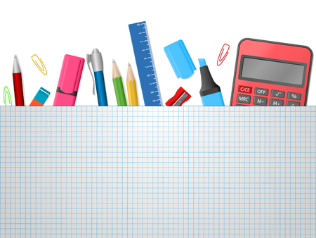 School supplies, notebook, colour pencils, pens, calculator, ruler, eraser on white background with place for text. Back to school. Education and school concept. Vector illustration