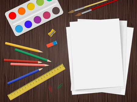 School supplies, colour pencils, white paper, watercolors paints, ruler, eraser on dark wooden background with place for text. Back to school. Education and school concept. Vector illustration Illustration