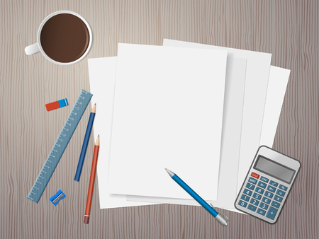 White sheets of paper, school supplies and cup of coffee on wooden desk. Back to school. Education and school concept. Vector illustration Illustration
