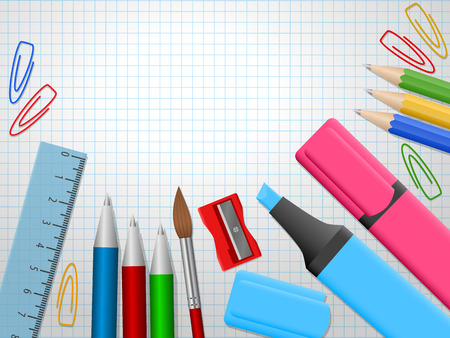 School supplies, colour pencils, pens, ruler, eraser with place for text. Back to school. Education and school concept. Vector illustration