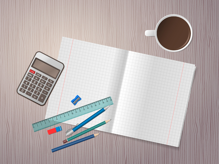 Open exercise book, school supplies and cup of coffee on wooden desk. Back to school. Education and school concept. Vector illustration Illustration