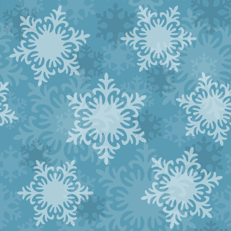 Seamless winter pattern, white snowflakes, Christmas and New Year background, holiday decor. Vector illustration Ilustração