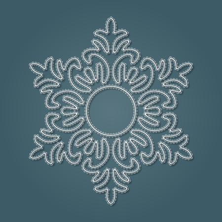 White lace snowflake, embossed pattern, decorative design element, winter decoration. Vector illustration