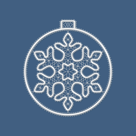 Christmas lace ball with a white snowflake. Template for Christmas, New Year or greeting card. Decorative design element. Vector illustration